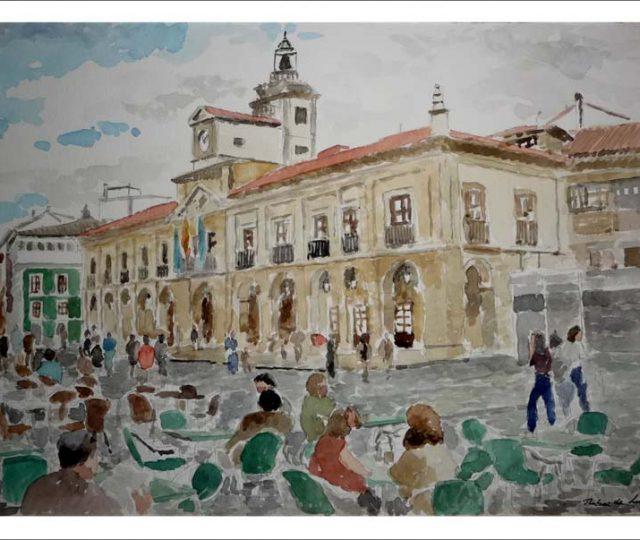 Acuarela del Ayuntamiento de Avilés