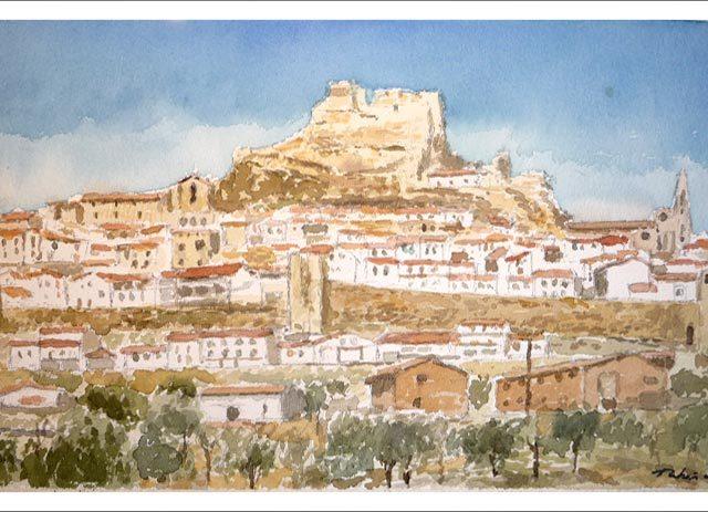 Acuarela de un paisaje de Morella, Castellón