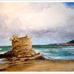 Acuarela de la playa del Camello en Santander