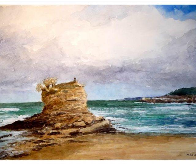 Cuadro en acuarela de la playa del Camello, Santander