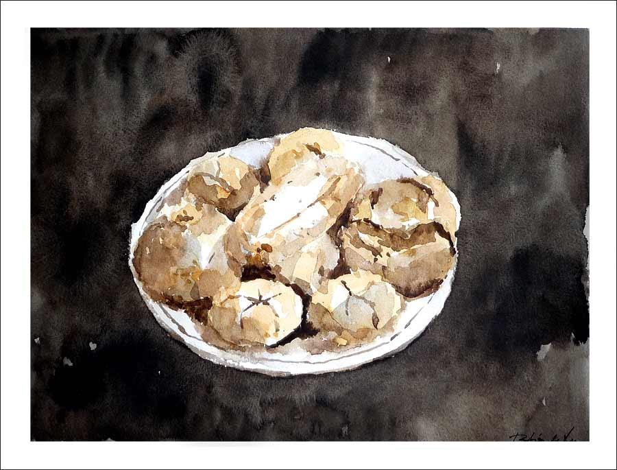 Acuarela de un bodegón de pan