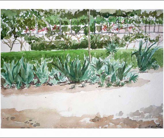 Acuarela del Jardín Botánico de Madrid