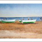 Acuarela, barcas en la playa de la Malvarrosa