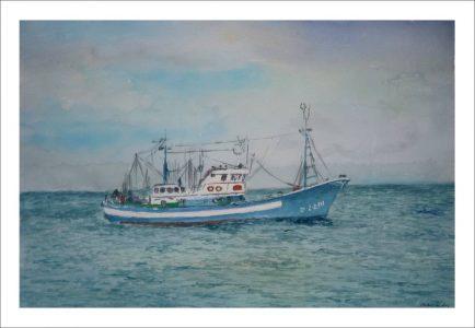 Acuarela de un barco pesquero navegando en alta mar