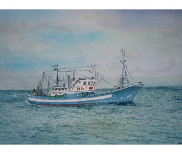 Acuarela de un barco pesquero