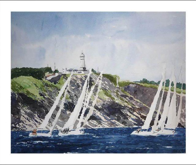 Acuarela de una regata ante el cabo Mayor de Santander