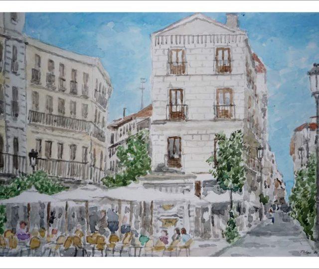 Acuarela de la calle Huertas en Madrid