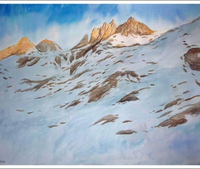 Acuarela de los Picos de Europa nevados
