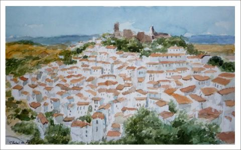 Acuarela del pueblo de Casares, Málaga