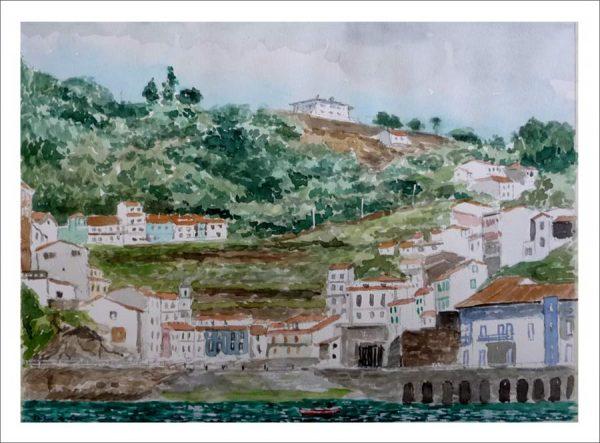 Acuarela de Cudillero, Asturias