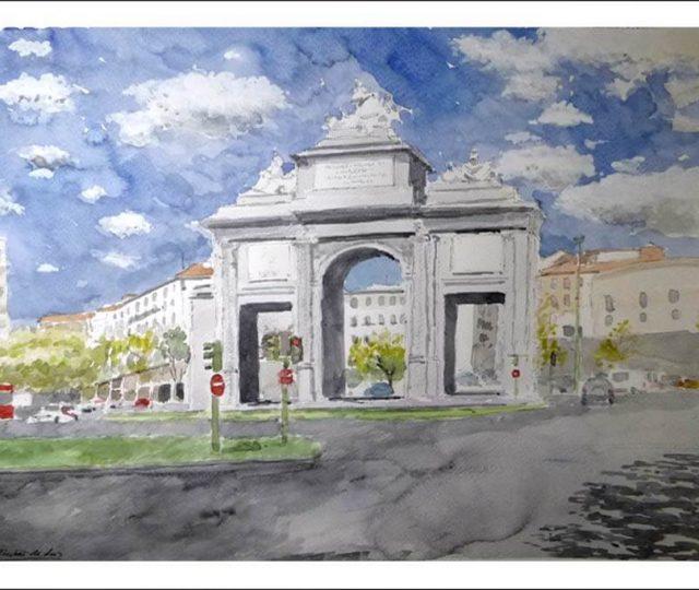 Acuarela de la Puerta de Toledo, Madrid