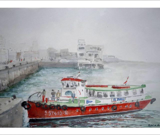 Acuarela del embarcadero de Santander