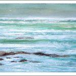Acuarela de una marina de unas rocas en Galicia