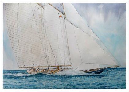 Goleta navegando en alta mar