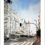 Acuarela de la Gran Vía de Madrid