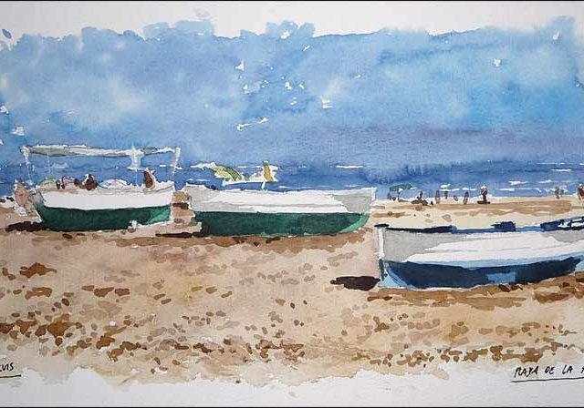 Acuarela de la playa de la Malvarrosa