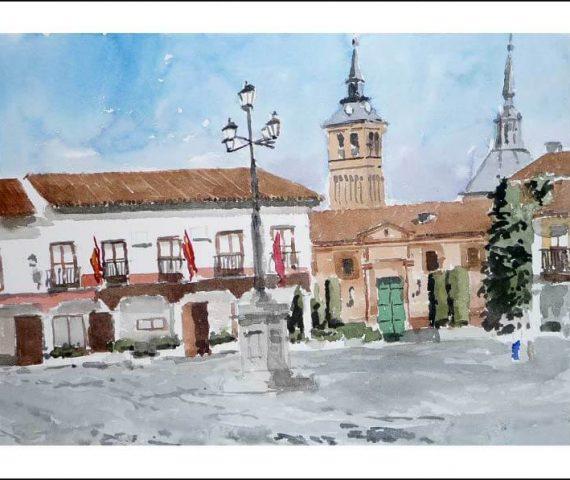 Cuadro en acuarela de Navalcarnero, Madrid.