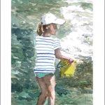 Una acuarela de una niña en la playa