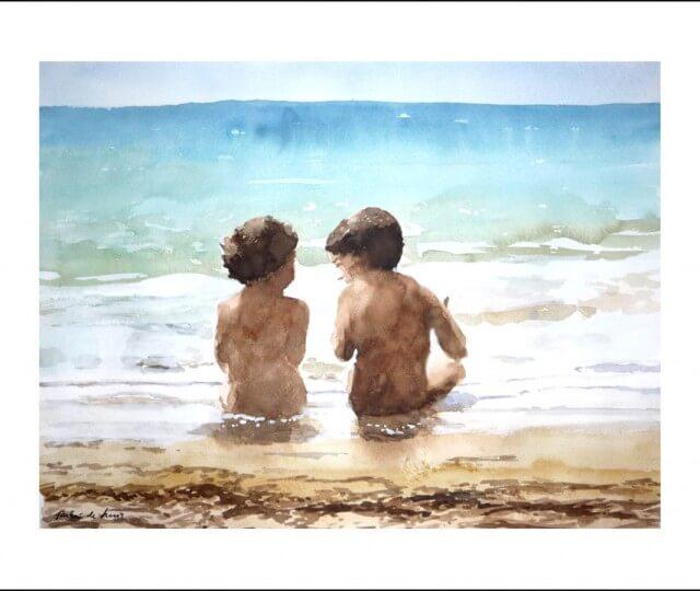 Cuadro de unos niños sentados en la orilla de la playa
