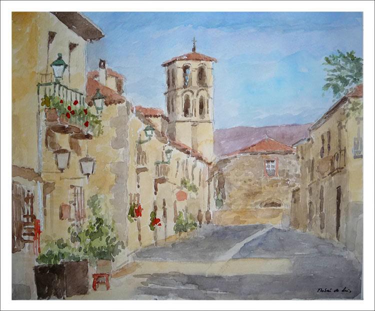 Cuadro en acuarela de Pedraza, Segovia