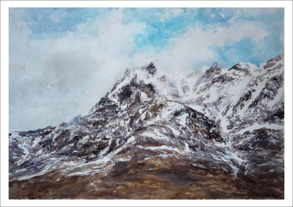 Acuarela de los Picos de Europa en invierno.