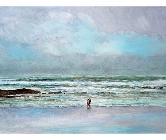 Marina en acuarela de la playa del Sardinero, Santander