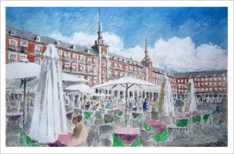 Acuarela de la Plaza Mayor de Madrid en verano