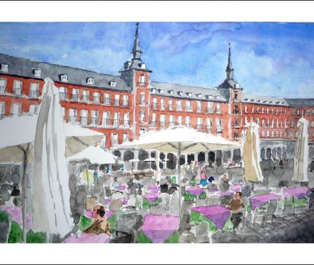 Cuadro de la plaza Mayor de Madrid