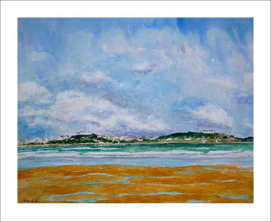 Cuadro de un paisaje de Santander desde la playa de Somo, Cantabria.