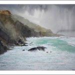 Cuadro en acuarela de un temporal en Galicia
