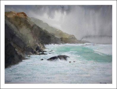 Acuarela de un temporal en Galicia