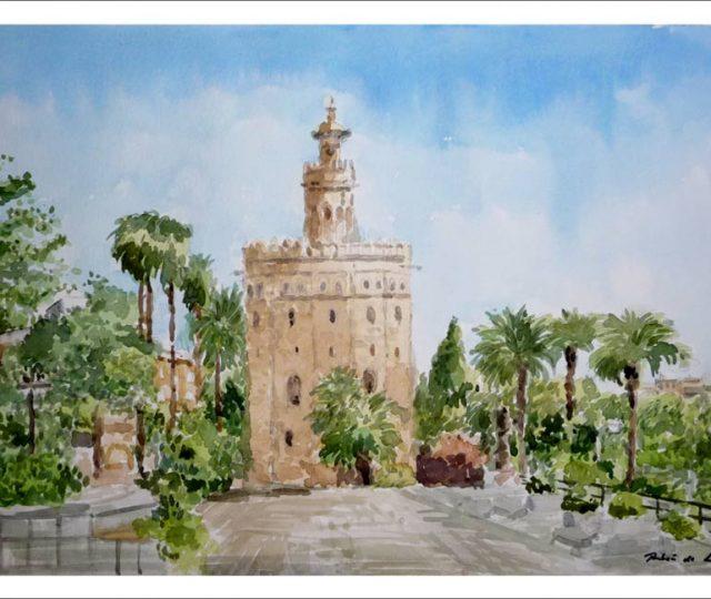 Acuarela de la Torre del Oro de Sevilla