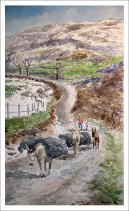 Acuarela de un valle de Cantabria