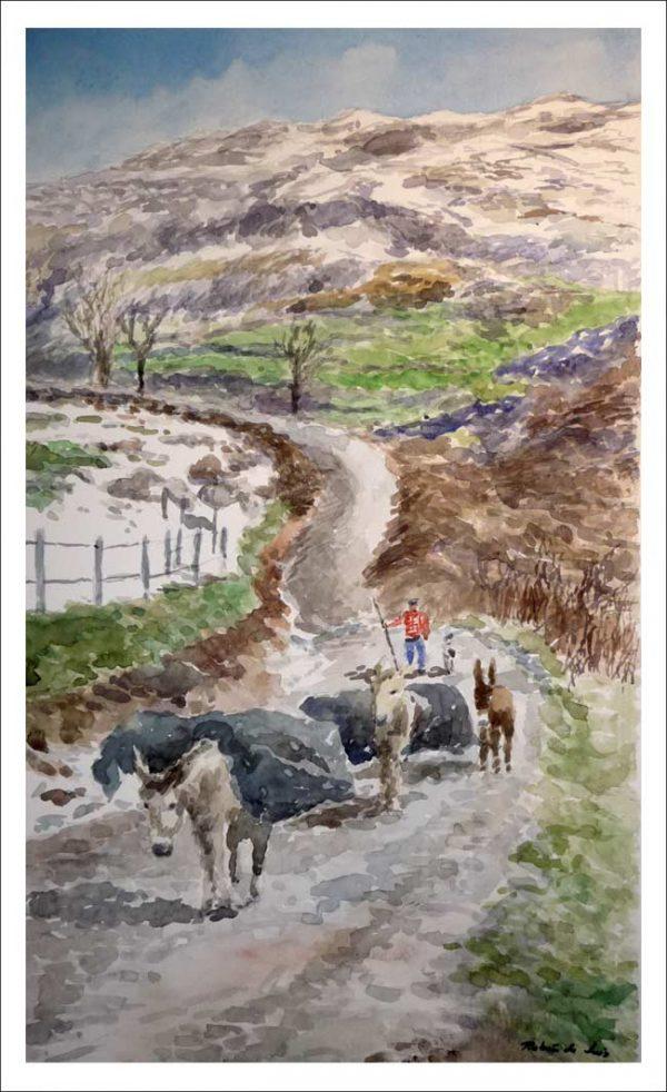 Acuarela de un pasiego en un valle de Cantabria