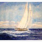 Acuarela de un velero con viento de popa