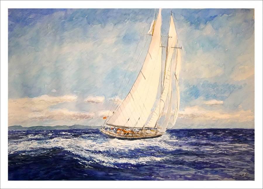 Velero en alta mar, viento de popa