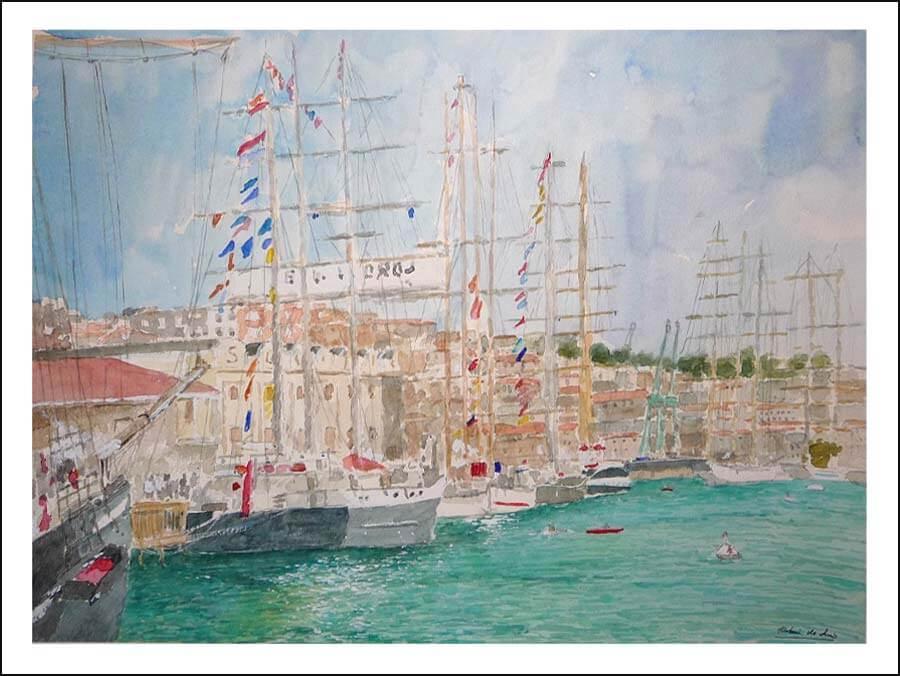 Acuarela de veleros en Santander