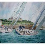 Acuarela de una escena de barcos en Santander