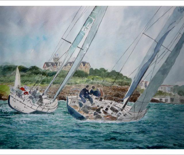Acuarela de unos veleros en Santander