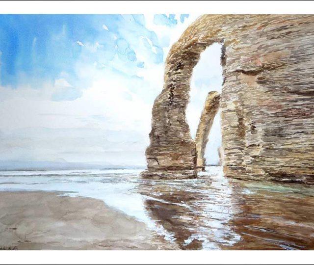 Cuadro en acuarela de la playa de las Catedrales, Lugo.