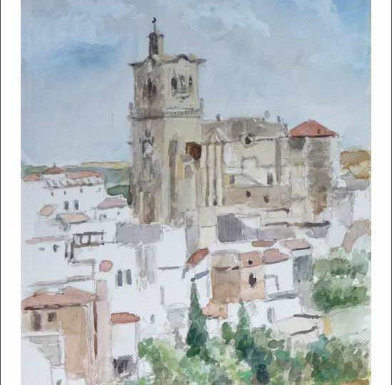 Acuarela de un paisaje de Arcos de la Frontera en Cádiz