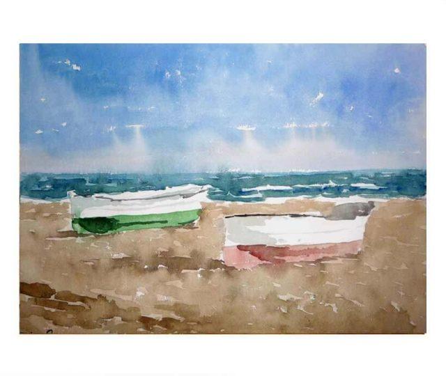 Acuarela de unas barcas en una playa de Valencia