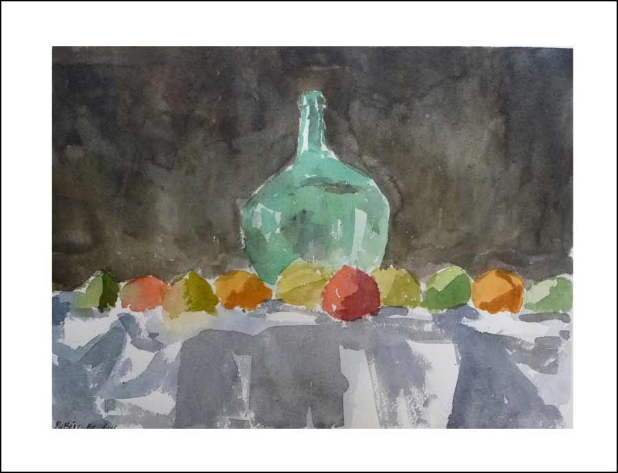 Bodegón con jarrón y frutas