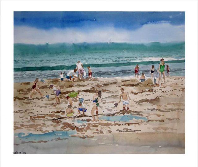Acuarela de unos niños buscando cangrejos en la playa