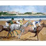 Cuadro de unos caballos en la playa de Loredo