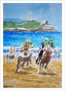 Caballos en la playa de Loredo, Cantabria.