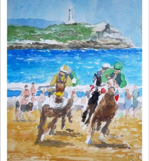Acuarela de una carrera de caballos en la playa de Loredo, Cantabria