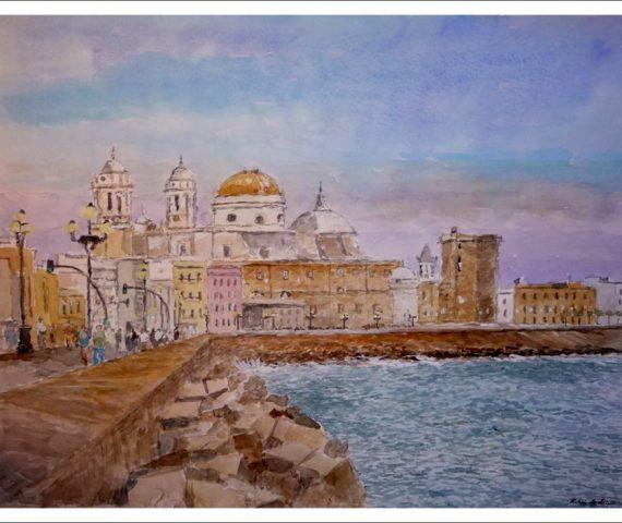 Cuadro en acuarela de Cádiz al atardecer