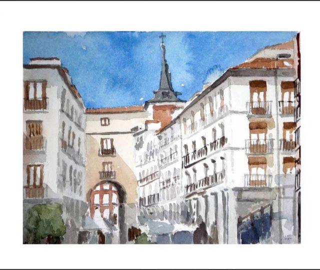acuarela de la calle de Toledo en Madrid.