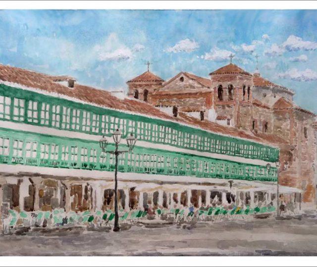 Acuarela de la plaza Mayor de Almagro